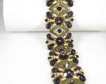 Queen Bee Bracelet - Beading Tutorial - AVA Swarovski and Zoliduo Bracelet - Beading Pattern - AVA Zoliduo Beaded Bracelet Tutorial - PDF