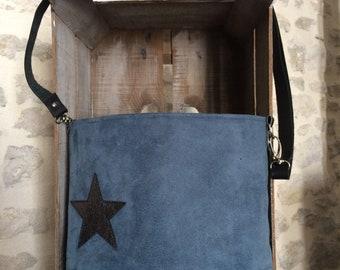Blue Suede and leather shoulder bag