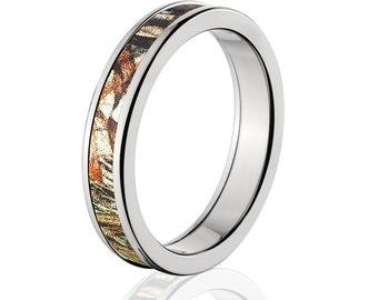Camouflage Wedding Band Custom Camo Wedding Ring Mossy Oak Duckblind Camo Pattern Camo Jewelry Mossy Oak Camo Ring 4HR_DUCKBLIND
