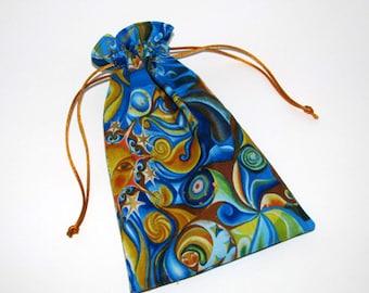 Tarot card pouch, draw string pouch, tarot cards, runes, pouch, cotton, celestial, astrology, Tarot cards