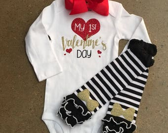 My First Valentine's Day Onesie only. Leg warmers and bow not included