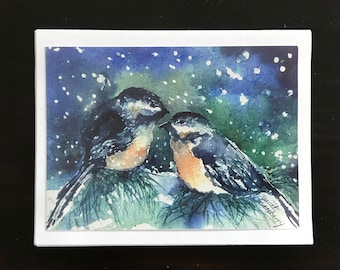 Fine Art Watercolor image Christmas Card with Chikadee Birds Perched On A Evergreen Tree Snowy Winter Night by Janet Dosenberry