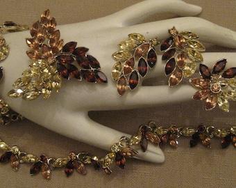 SIGNED 11 W 30 St INC DODDS Amber Gold Yellow Navette Foiled Rhinestone Gold Metal Necklace Bracelet 2 Pair Clip On Earrings Set Vtg 1960s