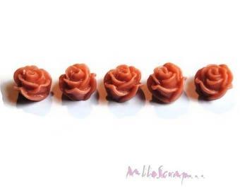 Set of 5 antique pink roses resin embellishment scrapbooking card *.