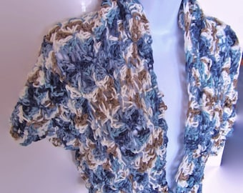 Crocheted Shawl, Wrap, Blue and Brown, Capelet, Gift for Woman