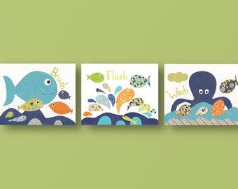 Brush Flush Wash Nursery Art Baby Nursery Nursery Wall Art Baby Art Fish  Octopus Sea   Bathroom Decor Set Of 3 Prints