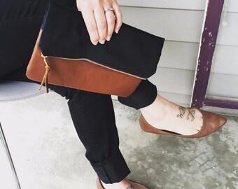 Black Clutch, Black Handbag, Fold Over Clutch, Foldover Clutch, Leather Handbag, Leather Clutch, Black Evening Clutch, Clutch Handbag