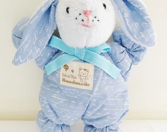 Blanket in the shape of Bunny Blue 100% cotton fabric with paperwork 25 cm
