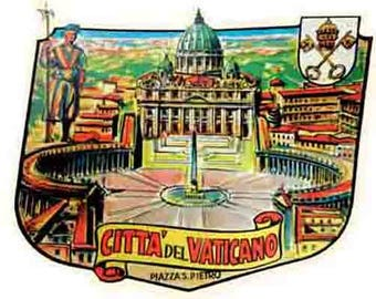 Vintage Style Italy Rome Roma Vatican City  Travel Decal sticker