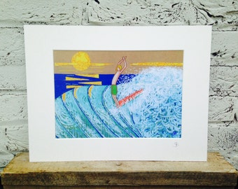 Signed mounted A4 print of surfer on vintage 60s wallpaper wave surf art sea waves cornwall
