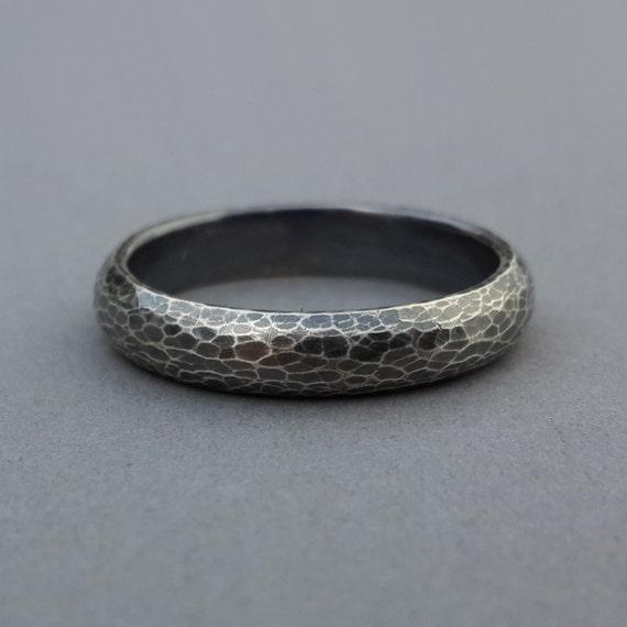 Hand Forged Wedding Ring Leopard Skin Snake Skin Unisex