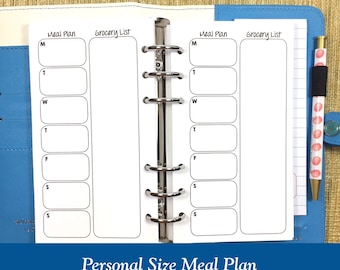 Personal Size Meal Plan Planner Inserts