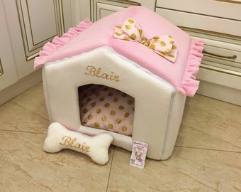 Ivory and pink dog house with golden polka dot accents Designer pet house in pink Princess dog bed Cat bed Custom made dog bed Puppy house
