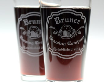 Custom HomeBrew Personalized Pint Glass with an Art Nouveau theme (set of 2), home brew gift, homebrew, beer gift, custom home brew glass