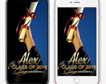 Graduation Geofilter, Class of 2018, Graduation Filter, Snapchat Geofilter, Graduation Party, Gradutation Snapchat Filter, Prom Snap Filter
