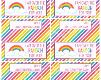 Valentine Rainbow Treat Bag Toppers, Valentine's Day, Printable, Instant Download, Digital