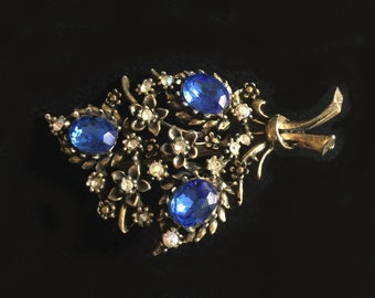 Rescued & Restored Vintage Floral Spray Brooch with Blue and AB Rhinestones