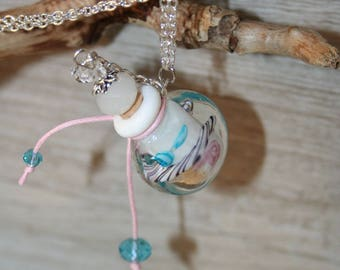 mounted on a silver chain perfume pendant/vial/bottle