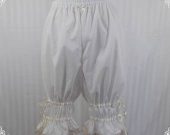 Ivory adjustable above the knee bloomers lolita adult--small to plus size