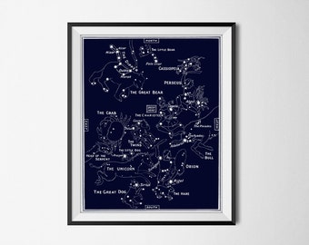 Constellations Digital Print - Star Constellations In Navy Blue - 2 Files 5x7 & 8x10 inches - Astronomy Science - INSTANT DOWNLOAD #2108