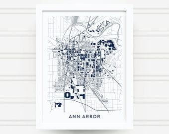 ANN ARBOR MICHIGAN Map Print / College Graduation Gift / Michigan Wolverines Gift / University of Michigan / Gift for Him Her / Art Poster