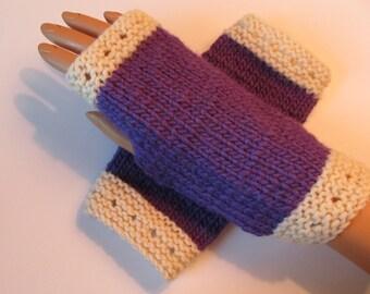 Violet and White Alpaca and Wool Fingerless Texting Mittens, Handwarmers, Hand Warmers, Gloves, Handmade, Amethyst, Purple