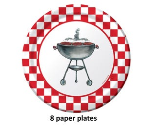 barbecue grill plates, bbq, 9 inch, summer party, grilling, paper tableware, picnic supplies, birthday, camping, outdoors, mens party ideas