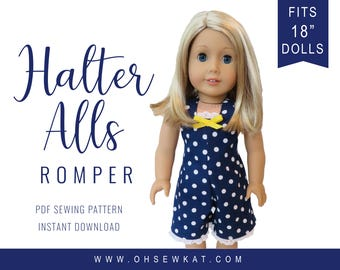"""18 inch Doll Clothes Sewing Pattern fits 18"""" dolls like American Girl  Romper Overalls Doll Clothes PDF sewing pattern Doll Clothes OhSewKat"""
