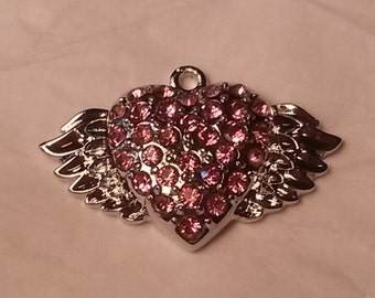 Sale 20 Silver plated winged heart pink Crystal Pendant charm