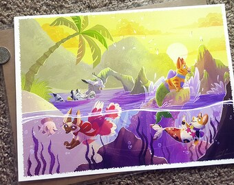 "Purrmaids, mermaid cats at the beach! Toygershark, Siamese betta, calicoi and orange tabby play artwork Fine Art Print 9x12"""