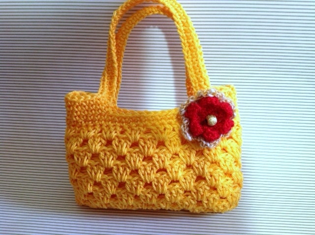 Girls Crochet Purse Pdf Pattern Tote Bag Crochet