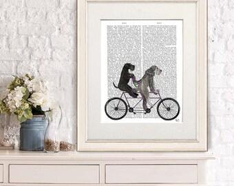 Schnauzer print - Schnauzer on tandem - Schnauzer gift Tandem bike Cycling gift Bicycle art Schnauzer love Schnauzer art  Schnauzer decor