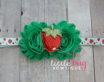 Strawberry Headband, Strawberry Hair Bow, Red Green Headband, Strawberry Bow, Summer Headband, Girls, Baby, Toddler, Birthday, Cake Smash