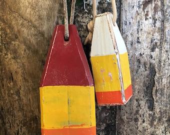 Coastal Decor Set Yellow Orange Red Lobster Buoy Nautical Wooden by SEASTYLE