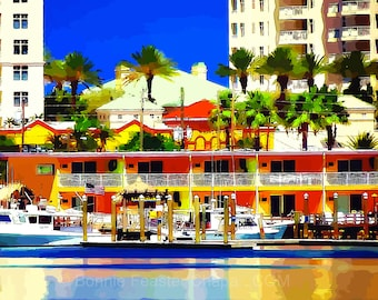 Clearwater Beach Harbor Marina Florida Palm Tree Boat Florida Coastal Nautical Limited Edition Wall Art Giclee Print