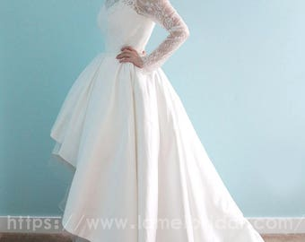 Long sleeve White Lace Dress, knee length Short Front Long Back wedding  Dress, Illusion neckline Lace flower wedding party lace dress