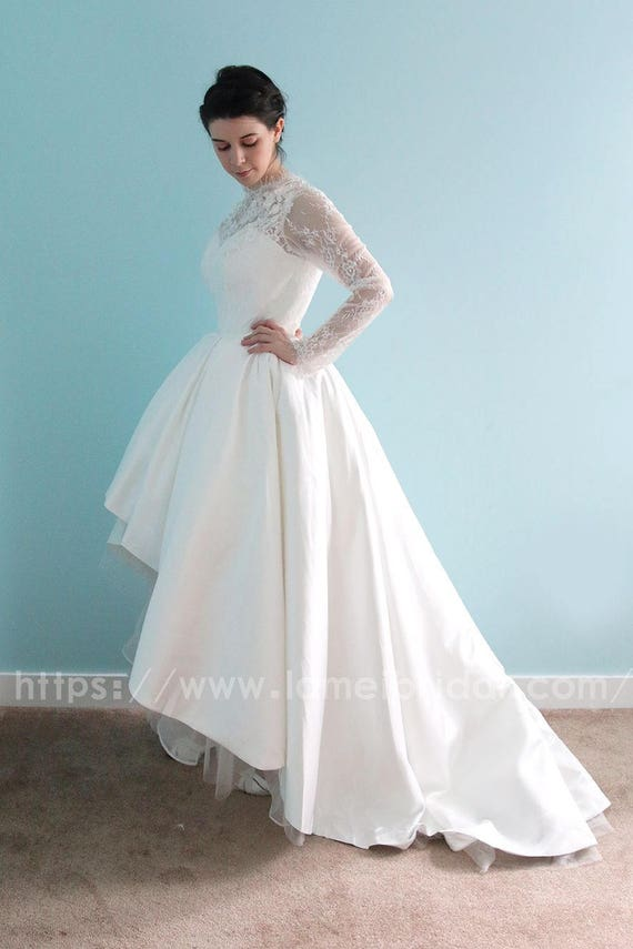Long sleeve White Lace Dress knee length Short Front Long