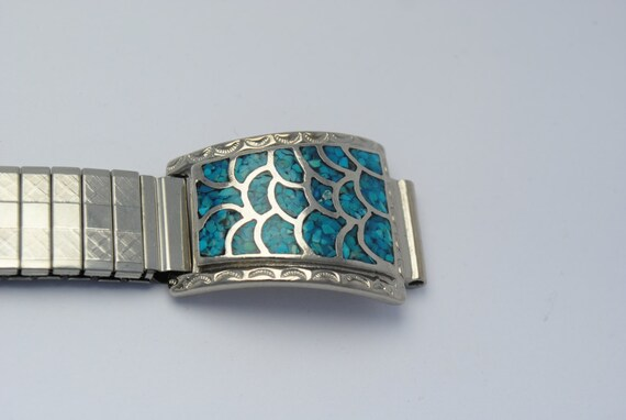 Wristwatch in turquoise and steel extendable