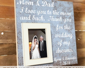Parents Thank You Gift, Wedding Frame, Parents Gift, Thank you Gift, Parents of the Bride, In-Laws Gift, Personalized Frame, Father of