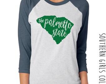 Palmetto State Raglan Shirt - State of South Carolina Graphic Tee - Graphic Unisex Shirt - Palmetto TShirt - Southern Girls Collection