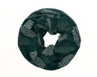 MINI INFINITY SCARF - Gray Double Flowers on Emerald