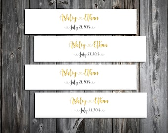 150 Black and Gold Wedding Napkin Ring Cuffs Wraps. Personalized Favors - monogrammed