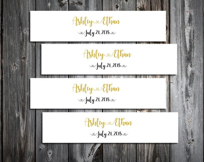 100 Black and Gold Wedding Napkin Ring Cuffs Wraps. Personalized Favors - monogrammed