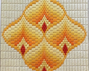 Small monochrome needlepoint kit. Pomegranates Yellow