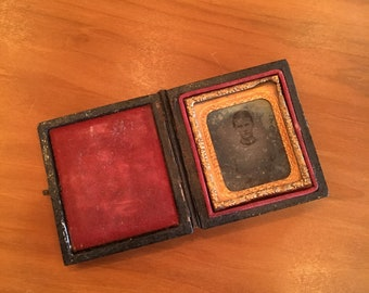 Antique 1800's Civil War Era Tiny Miniature Book with Photo in Frame