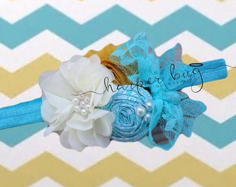 Turquoise, Ivory, & Mustard girls headband or hair clip