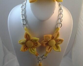 Orange yellow tie dye tshirt jewelry set