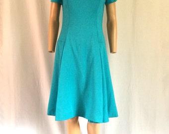 1960s Jacques Heim Turquois Blue Linen Dress Sz. M