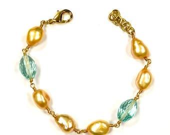 Pearl and Aqua Bracelet