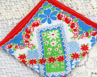 Vintage Hankie Bright Red, Green, Blue #T-20